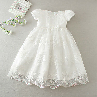 Vintage Baby Girl Baptism Dress Embroidery Christening Occasion Gown NB-24M