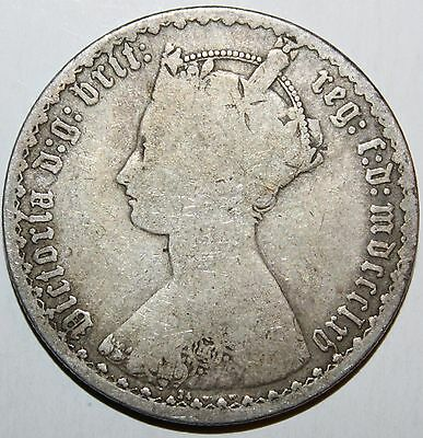 Uk 1865 Silver Gothic Florin!  Semi-Key Date!