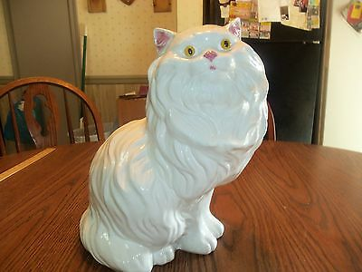 Vintage Large Ceramic Persian Cat Figure Hand Painted White