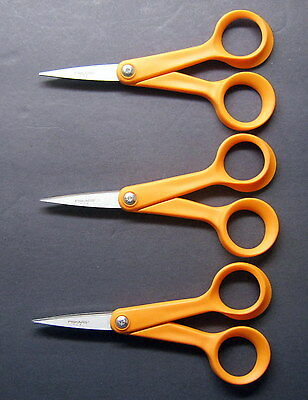 "Lot of 3 Fiskars - Rare MADE IN THE USA - 5"" Scissors Stainless Steel ORANGE New"