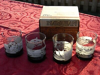 Set of 4 McDonald's Hawaiian Sea Glassware Libby Tumbler Drinking Glasses