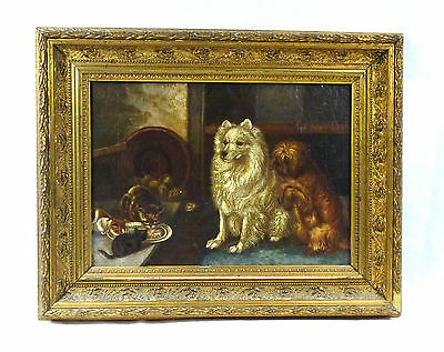 Picture Painting in the Frame Dogs Dog Spitz Cats signed 19 Jh
