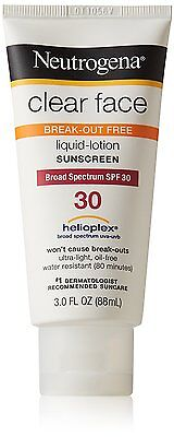 Neutrogena Clear Face Liquid Lotion Sunscreen For Acne-Prone Skin Spf 30, 3 oz
