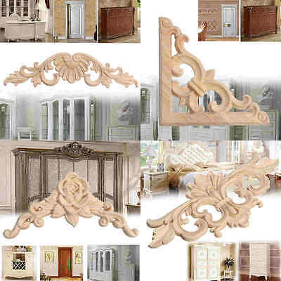 Wood Carved Corner Onlay Applique Frame Decor Unpainted Furniture Home Craft