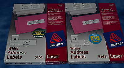 "Brand New AVERY White Address 1""x 4"" Laser Labels #5161 Box 2000 Lot of 2 packs"