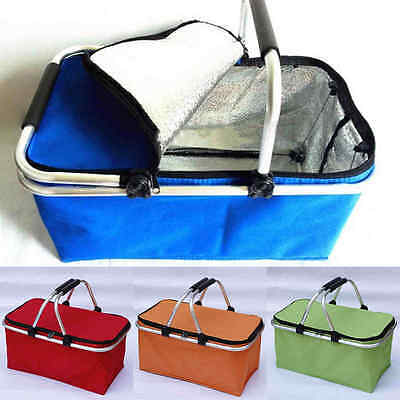 Outdoor Folding Basket Lunch Picnic Food Folding Insulated Cooler Camping Bag