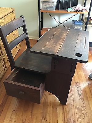 *Price Reduced* Vintage Wood School Desk With Pull-Out Drawer and Inkwell
