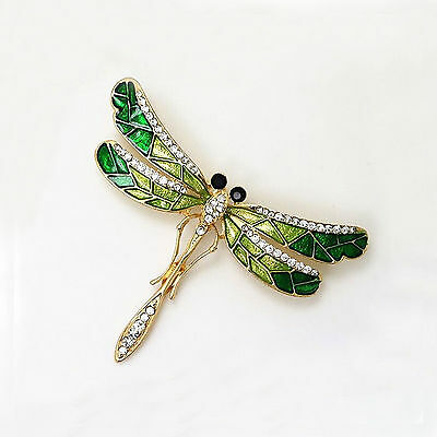 Charming Jewelry Women's Vintage Noble Dragonfly Crystal Scarf Pin Brooches Lady