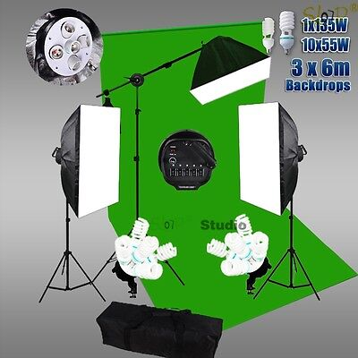 3x6m Green Backdrop Studio Softbox Continuous Lighting Boom Arm Light Stand Kit