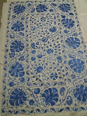 Large Stunning Uzbek Cotton Hand Embroidered Nurata Suzani From A18