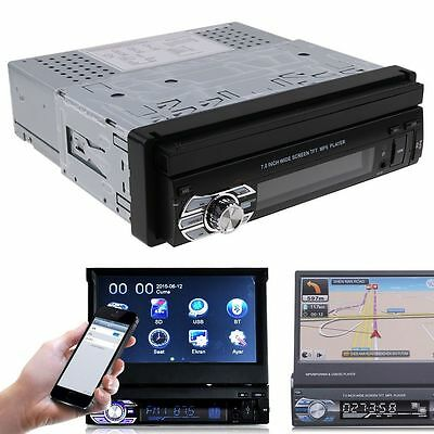 "7"" 1 Din Retractable Screen Bluetooth Car Radio Stereo Video Player USB/SD/AUX/F"