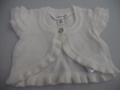 Baby Girls Pumpkin Patch cream crop cardigan with frill cap sleeves size 00