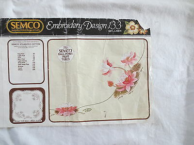Semco Pure Irish Linen Tablecloth Design 133 Water Lilies Crochet Edge