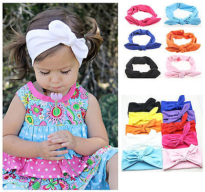 Cute Baby Toddler Girls Kids Rabbit Bow Knot Turban Headband Hair Band Headwrap