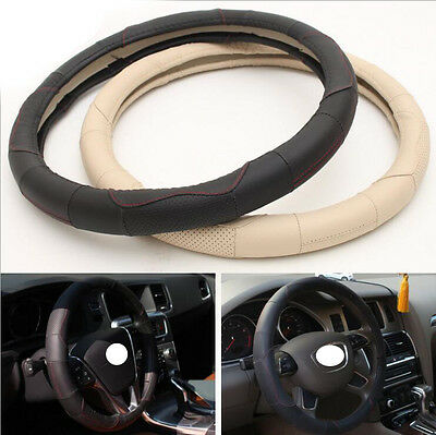 Synthetic Leather Steering Wheel Cover Black w/ Red Stitching Sport Grip S M L