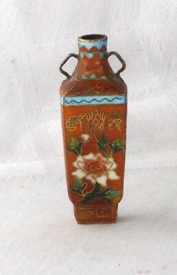 Chinese Cloisonne Square Snuff Bottle With Calligraphy & Flowers