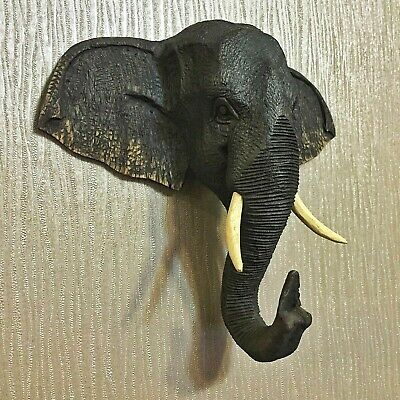 Elephant Wood Art Carved Face Mask Wall Hanging Sculpture Vintage Home Decor New