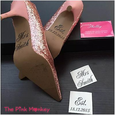 DIY Personalised Wedding Shoe Stickers Decal Name Mrs Sticker