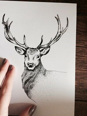 A5 Original Stag Dotwork Drawing