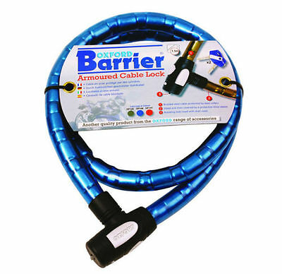 Oxford 1.4m x 25mm Barrier Blue Motorbike Motorcycle Chain Cable Lock Heavy Duty