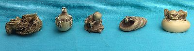 Collection of five beautifully carved netsuke dragon, snake etc