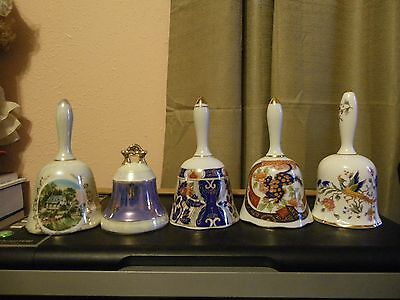VINTAGE LOT OF 5 PORCELAIN AND BONE CHINA BELLS with CLAPPERS