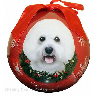 E & S Pets Bichon Frise Shatter Proof Christmas Ball Ornament