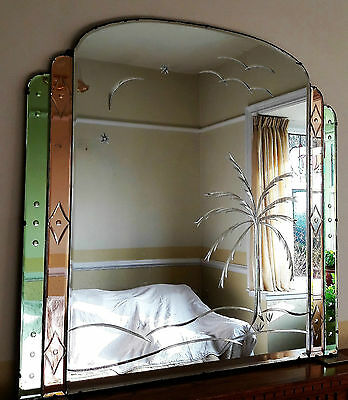 ORIGINAL LARGE (3ft.) GREEN PEACH ART DECO/VINTAGE OVERMANTLE/OVERMANTEL MIRROR.