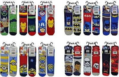 2/6 Pairs Boys Kids Official Star Wars Batman Minions Avengers Character Socks