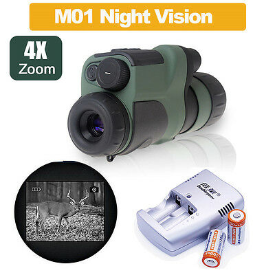 NVDT-M01 IR Monocular Telescope HD Optical Glass Night Vision +2xBattery/Charger