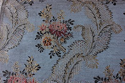 Rare French Antique 19thc Silk Brocade Sample Fabric Woven On 18thc Loom c1870