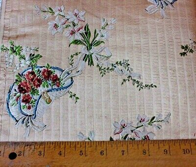 """Antique French 19thc Silk Brocade Fabric Sample """"le Chapeau"""" Design~18thc Looms"""