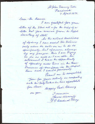 N. T. Cardinal Gilroy - Autograph Letter Double Signed 04/07/1972