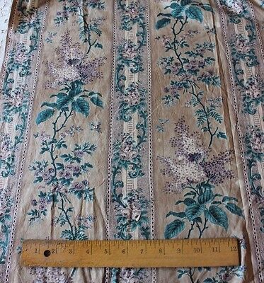 Antique French Chintz c1860 BlockPrinted Lilac, Roses & Lace Home Fabric Panel
