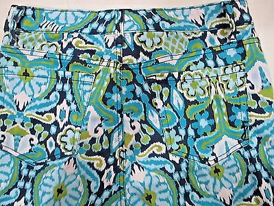 Jones New York Women's Size 8 Cuffed Capri Jeans Teal Navy White Abstract Slimmi