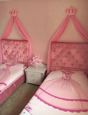 Pink White Girls Bed Canopy Princess Shabby Chic Crown Bedding