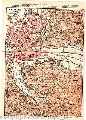 Antique map Freiburg karte 1910 rhein carte Günterstal