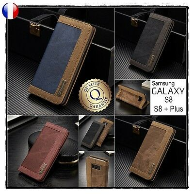 Etui coque housse PU Leather Wallet case cover Samsung Galaxy S8 ou S8 + Plus