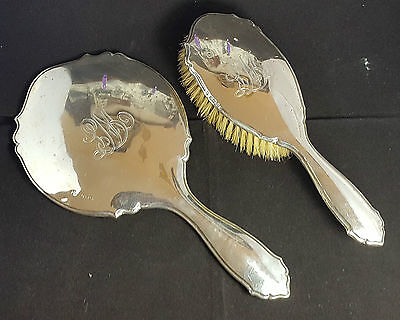 Beautiful Antique  Heavy Hallmarked Solid Silver Hand Mirror and Clothes Brush