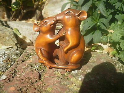 Hand carved wood netsuke two mice kissing, vintage / antique style figurine