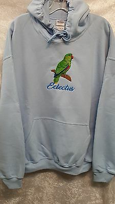 Eclectus Parrot Bird  Embroidered On A XLarge Blue Hooded Sweatshirt