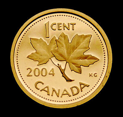 2004 Canada 1¢  frosted proof coin from Proof Set - ultra cameo