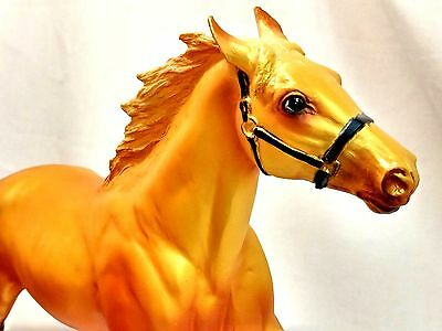 "Breyer 2001 TRU Exclusive Gold Metallic Pacer Orange Yellow 12"" Horse Figure EUC"