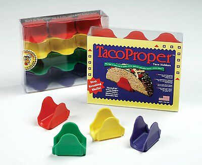 Harold TacoProper Colored Taco Holders Plastic Shell Stands FiestaPak, Set Of 12