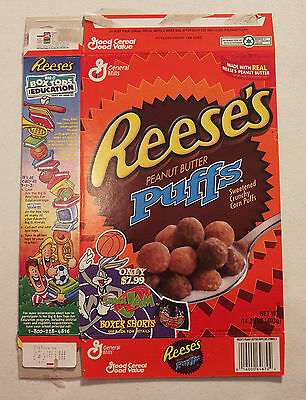 General Mills Reeses PB Puffs Space Jam Cereal Box 1997