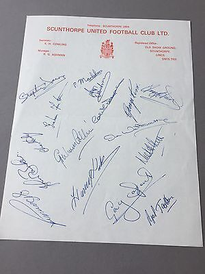 SCUNTHORPE UNITED FC signed letter from the 1970's Football autographs