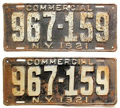 New York 1921 Commercial Truck License Plate Pair, Antique, Babe Ruth, Yankees