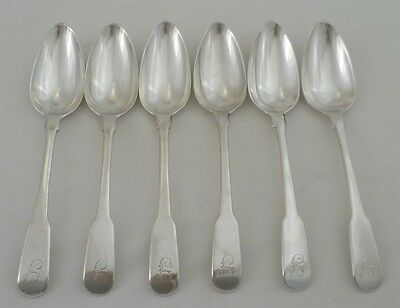 Set of 6 Georgian Silver Fiddle Pattern Dessert Spoons, London 1792, 178mm, 250g