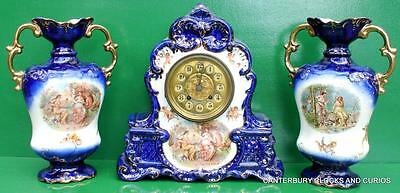 Meissen Style Antique 8 Day French Rococo Porcelain Ormolu Garniture Clock Set
