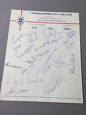 CARLISLE UNITED A.F.C. 1921  signed letter from the 1970's Football autographs